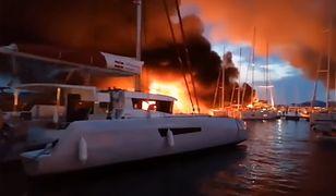 Pożar jachtów w chorwackiej marinie