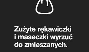 Koronawirus. Warszawa. Zużyte rękawiczki i maseczki należy wyrzucić do odpadów zmieszanych.