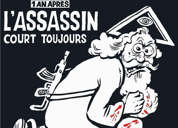"""Bóg z kałasznikowem na pierwszej stronie rocznicowego """"Charlie Hebdo"""""""