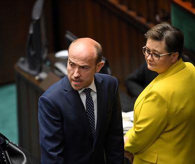 Opozycja. Przewodniczący Platformy Obywatelskiej Borys Budka i posłanka PO-KO Katarzyna Lubnauer na sali plenarnej Sejmu.
