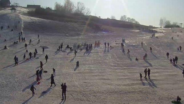 Widok z kamery na stok w Podstolicach 11 stycznia