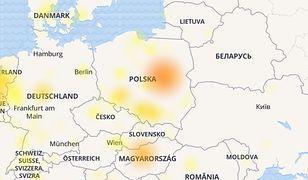 Mapa przerw w dostawie usług Facebooka