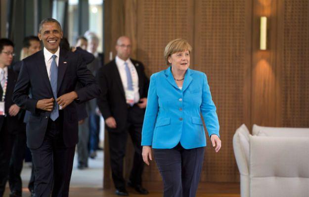 Barack Obama i Angela Merkel przed pierwszą sesją szczytu G7