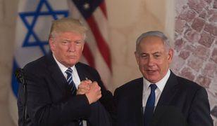 Prezydent Donald Trump i premier Beniamin Netanjahu podczas spotkania w Jerozolimie