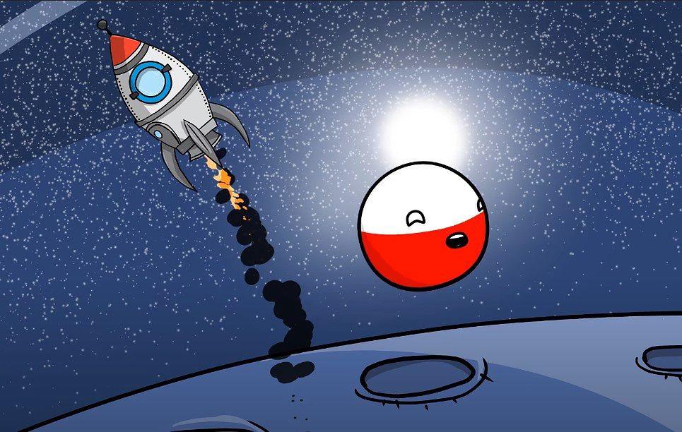 Oryginalna kulka Polandball ma zamienione kolory, przez to prawa fizyczne w Polsce działają odwrotnie.