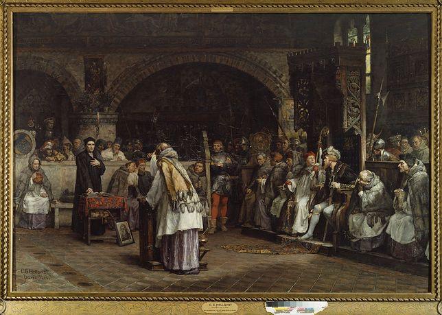 Dyskurs religijny między Olausem Petri i Pederem  Galle/obraz Carla Gustafa Hellqvista