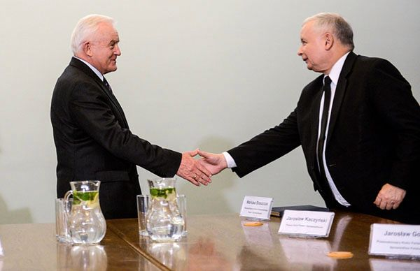 Prezes PiS Jarosław Kaczyński i lider SLD Leszek Miller