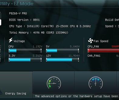 Interfejs UEFI na płycie głównej firmy Asus