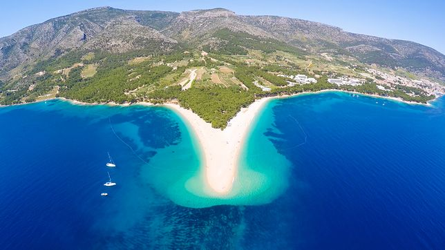 Aerial view of Zlatni Rat beach close to the town of Bol on the island of Brac, Croatia.
