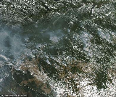 Płonąca Amazonia - widok z kosmosu