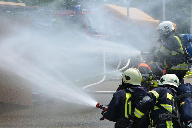 Wrocław - pożar salonu Mercedesa. Na miejscu pracowało kilkanaście jednostek straży pożarnej.