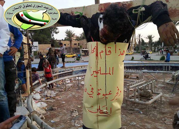 Brutalna egzekucja w Syrii. Islamiści ukrzyżowali dwóch rebeliantów