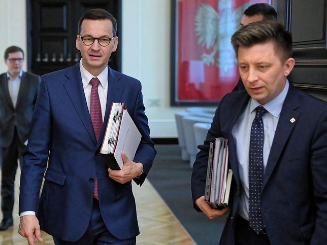 Premier Mateusz Morawiecki i szef KPRM Michał Dworczyk