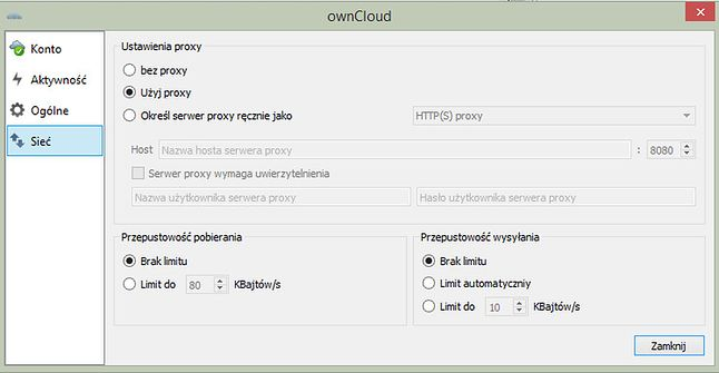 Ustawienia serwera proxy oraz tranferu