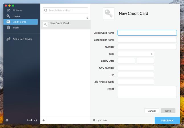 Formularz dodawania karty płatniczej na macOS-ie.