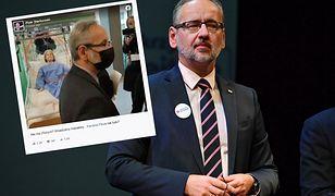 Adam Niedzielski na zdjęciu z manekinem. W sieci burza