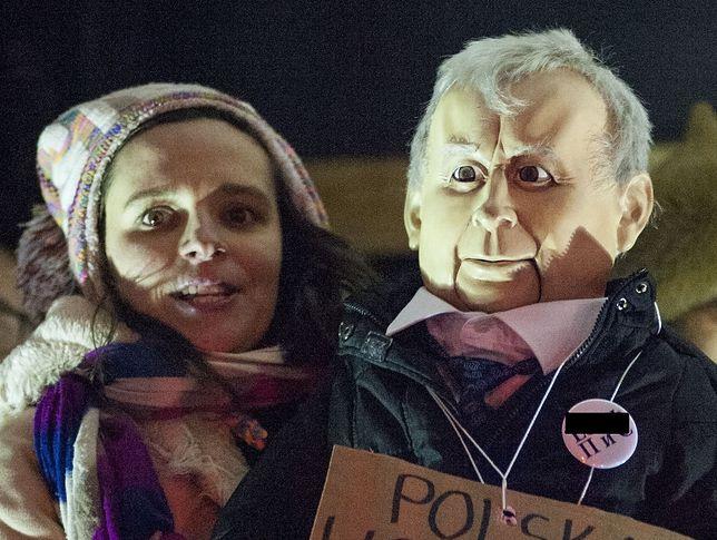 Klaudia Jachira na jednej z antyrządowych demonstracji.