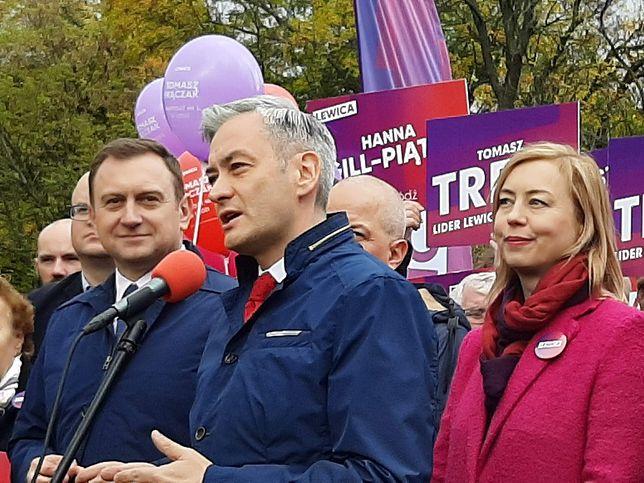 Szef sztabu wyborczego Roberta Biedronia Tomasz Trela i wiceszefowa Hanna Gill-Piątek.