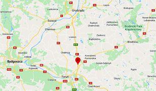 Pościg i dachowanie na A1 pod Toruniem. Uszkodzone radiowozy
