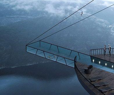 Najciekawszą propozycją są wiszące nad krawędzią balkony, a także sporych rozmiarów taras widokowy, z którego będzie wystawać przeszklony z wszystkich stron basen