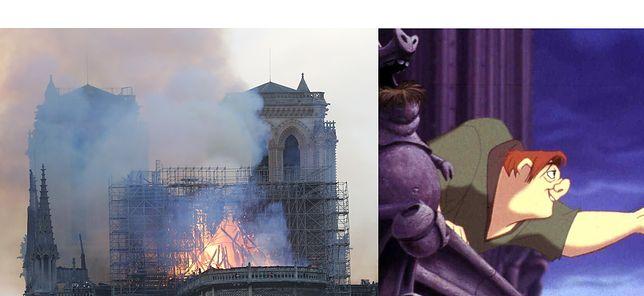 Katedra Notre Dame w ogniu. Mieszkał tam dzwonnik z powieści Victora Hugo i bajki Disneya