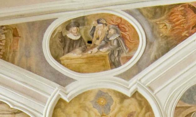 O legendzie przypomina fresk znajdujący się w kościele.