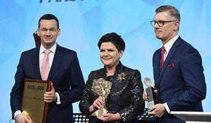 Od lewej: wicepremier oraz minister rozwoju i finansów Mateusz Morawiecki, premier Beata Szydło i wiceszef Kolegium IPN Sławomir Cenckiewicz
