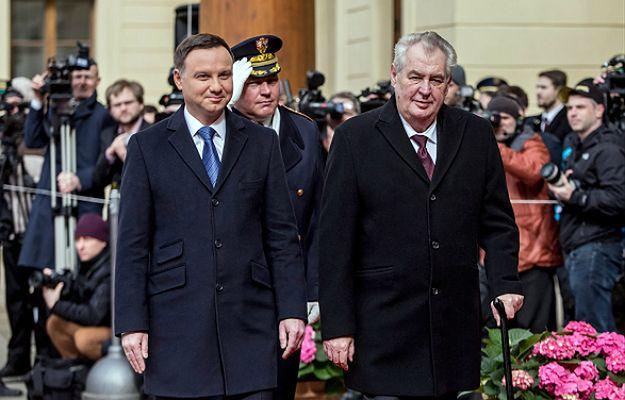 Prezydent Andrzej Duda i prezydent Czech Milos Zeman