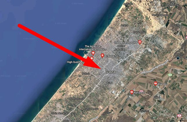 Strefa Gazy w Mapach Google