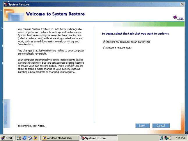 Przywracanie Systemu: tyle zostało z Centrów Aktywności. Ale interfejs programu został stworzony w HTML