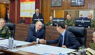 Prezydent Rosji Władimir Putin (L) oraz prezydent Syrii Baszar al-Asad (P)