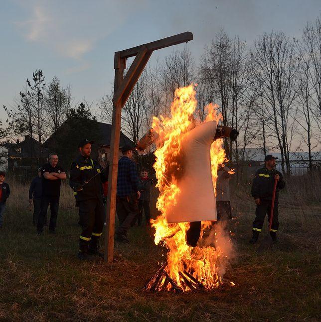 Kukła Judasza jest zawieszana na szubienicy i palona w obecności strażaków.