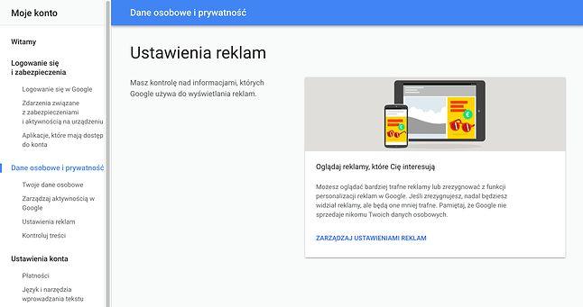 Zarządzać reklamami można w w Ustawieniach konta Google