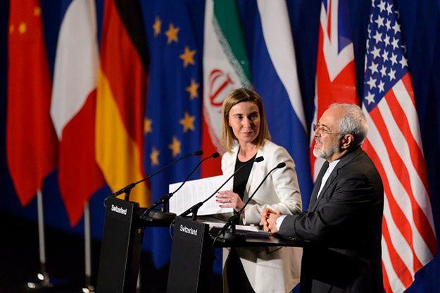 Szef MSZ Iranu Javad Zarif i szefowa unijnej dyplomacji Federica Mogherini