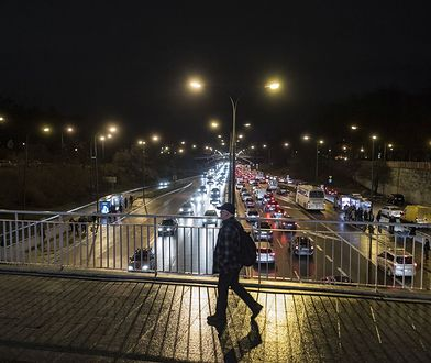 Trasa Łazienkowska, widok w stronę Pragi
