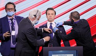 Pierwsza debata telewizyjna 2020: kandydat Konfederacji na prezydenta Krzysztof Bosak podczas debaty w TVP przed wyborami w maju, które się nie odbyły.