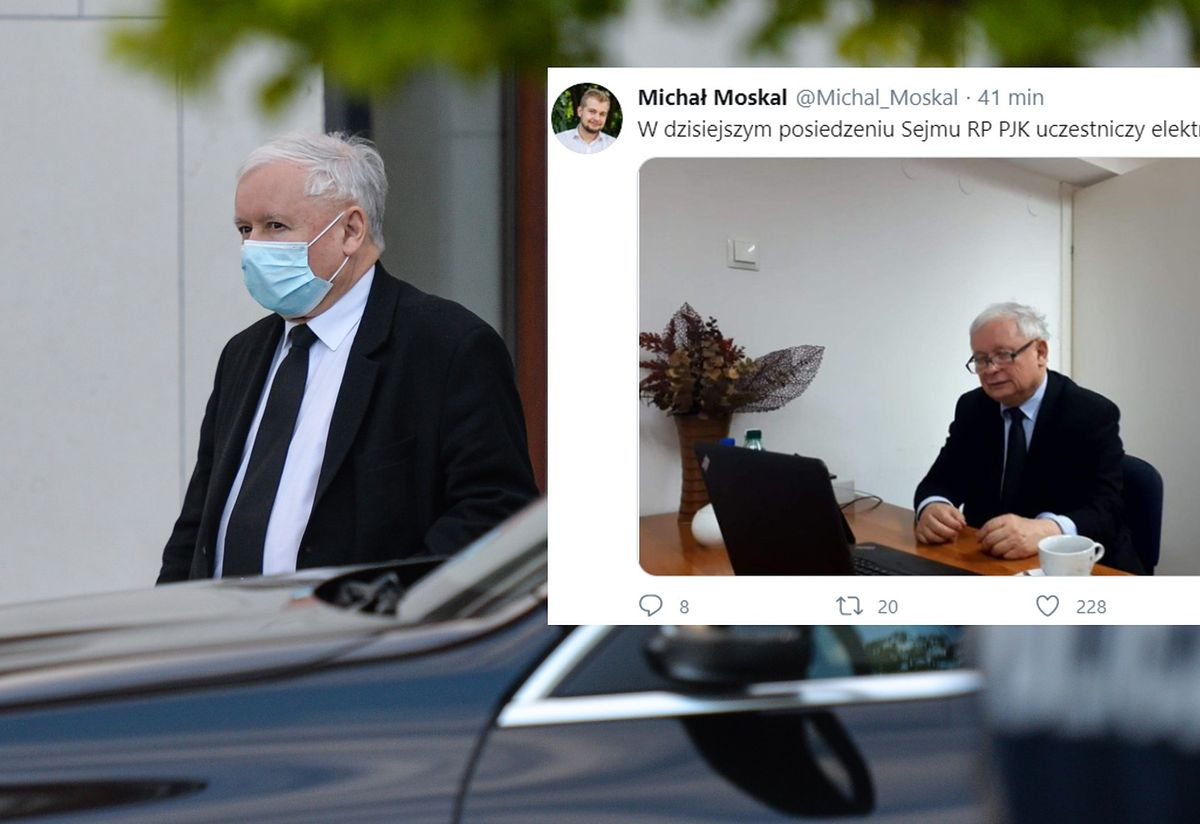 Jarosław Kaczyński przy laptopie. Zaskakujący ruch prezesa PiS