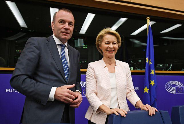 Przyszła szefowa Komisji Europejskiej Ursula von der Leyen i szef frakcji chadeków w Europarlamencie Manfred Weber