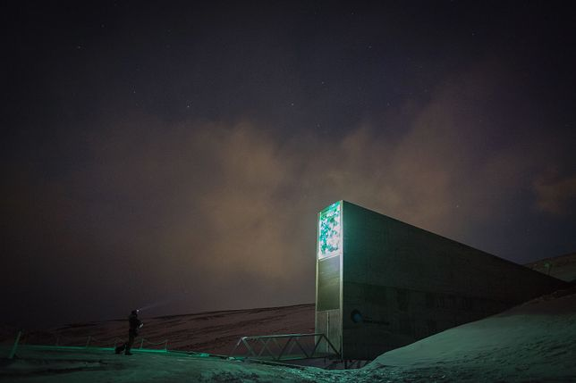 Polarny bunkier: globalny bank nasion. Longyearbyen, archipelag Svalbard