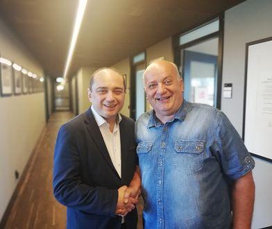 Od lewej Basil Kerski, dyrektor ECS i Karol Guzikiewicz z NSZZ Solidarność w budynku ECS