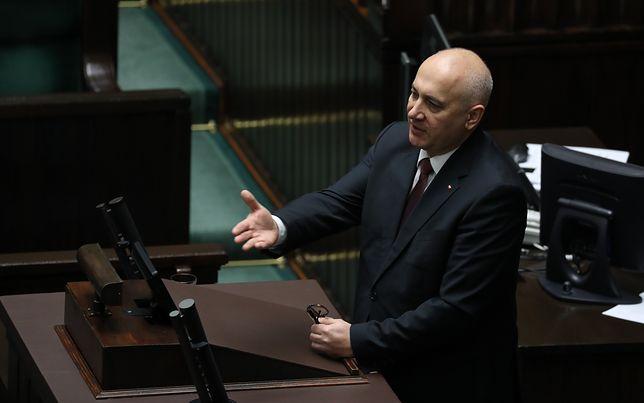 Joachim Brudziński podczas wystąpienia w Sejmie