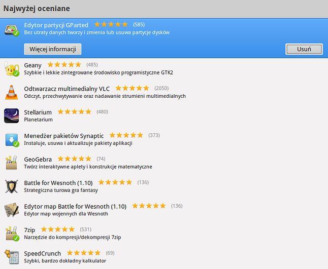 Top 10 - najpopularniejsze aplikacje w COU
