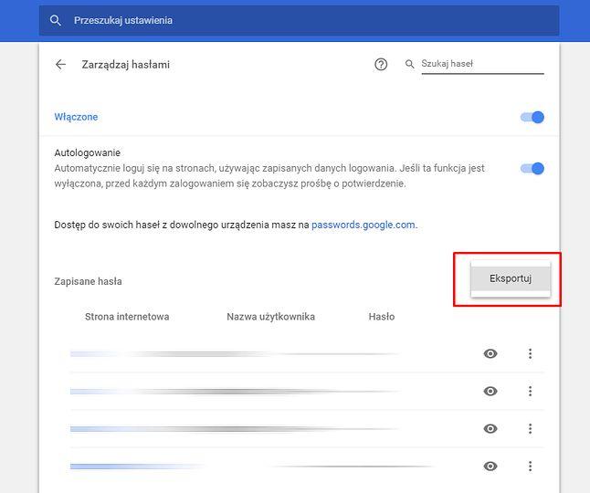 Opcja eksportowania haseł pojawia się w menu Zarządzanie hasłami wśród ustawień przeglądarki.