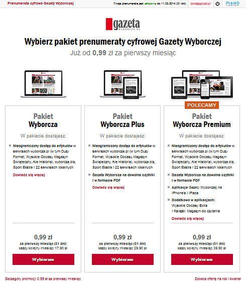 Pakietowa prenumerata cyfrowych tresci GW