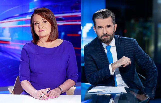 Danuta Holecka prowadząca Wiadomości (TVP1). Piotr Marciniak prowadzący Fakty (TVN)