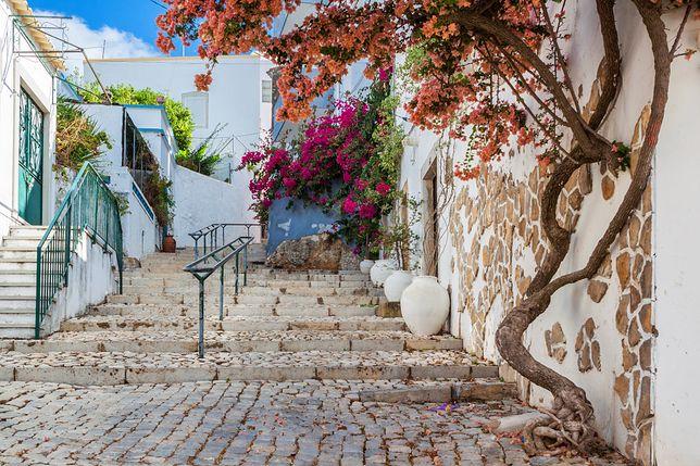 Brukowana uliczka w Faro, stare miasto, Portugalia