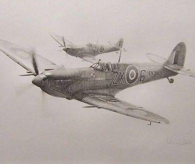 Na pierwszym planie Spitfire Stanisława Skalskiego