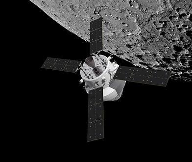Satelita Europejskiej Agencji Kosmicznej na tle Księżyca