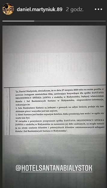 Daniel Martyniuk przeprasza właścicieli hotelu