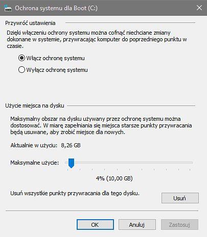 Ochrona systemu w Windows 10, czyli ustawienia punktów przywracania.
